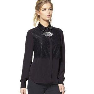 Prabal Gurung black blouse w chiffon lace overlay